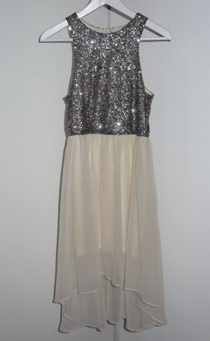 Glamorous High Low Dress silver-colored-cream polyester