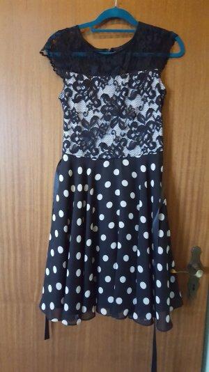 Abendkleid von Heine schwarz grau gepunktet