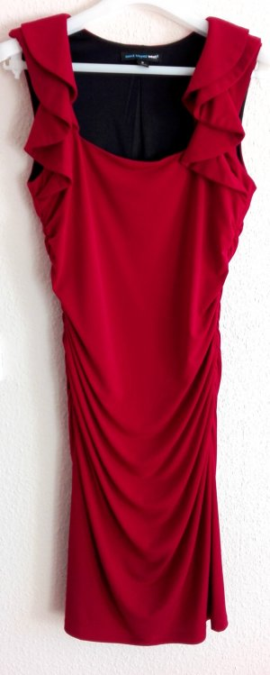 Abendkleid von Saint Tropez West Midikleid elegant festlich rot dunkelrot bordeauxrot Jerseykleid mit Rüschen Kragen