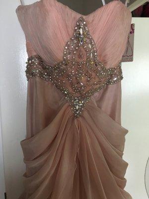 Vestido de noche color rosa dorado-nude