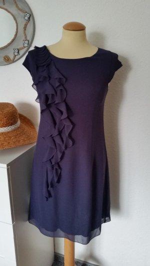 Abendkleid ZERO Gr. 36 Aubergine Vollant