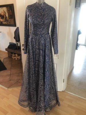 100% Fashion Avondjurk korenblauw