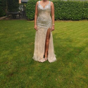 100% Fashion Evening Dress gold-colored