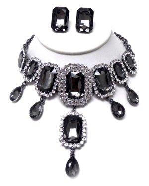 Collar estilo collier gris oscuro vidrio