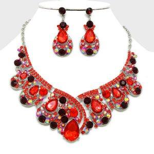 Abendschmuck Hochzeit Schmuckset Kette lange Ohrringe Kristall Vitrail Gold Rot Pink und Kristall Rot