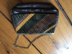 Abendtasche, Clutch, kleine Tasche, Braun mit Kroko-Optik