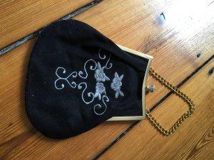 Abendtasche, Clutch, Minitasche, schwarz mit Stickerei und Strass-Steinchen