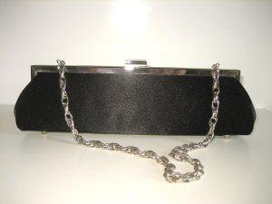 Abendtasche Clutch Satinstoff mit Silberkette