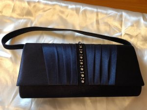 Abendtasche dunkelblau mit Strass-Applikation