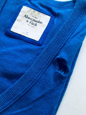 Abercrombie & Fitch Short Sleeve Knitted Jacket neon blue-grey cotton