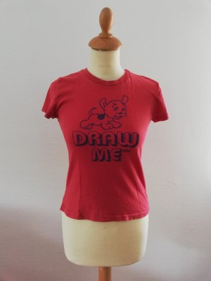 Abercrombie and Fitch S T-Shirt Shirt rot Orange Aufdruck Hund