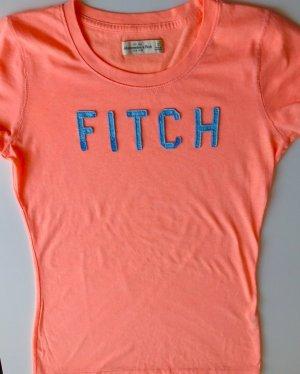 Abercrombie & Fitch T-shirt imprimé orange fluo-gris clair coton