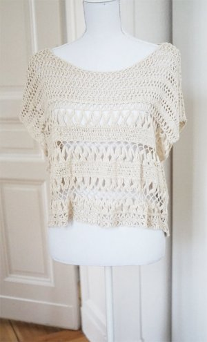 Abercrombie & Fitch A&F Häkel Top Creme 100% Baumwolle oversized natur ONE SIZE
