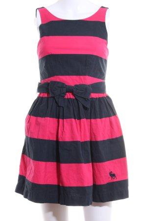Abercrombie & Fitch A-Linien Kleid dunkelblau-magenta Streifenmuster Casual-Look