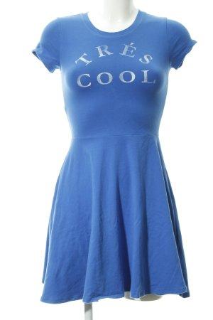 Abercrombie & Fitch A-Linien Kleid stahlblau-wollweiß platzierter Druck