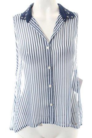Abercrombie & Fitch ärmellose Bluse weiß-blau Streifenmuster Casual-Look