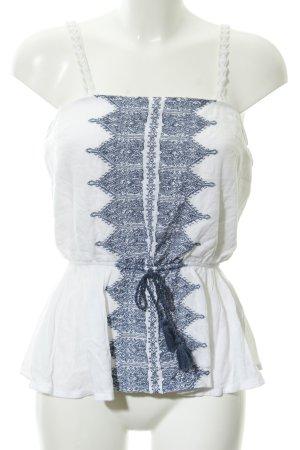 Abercrombie & Fitch ärmellose Bluse wollweiß-graublau schlichter Stil