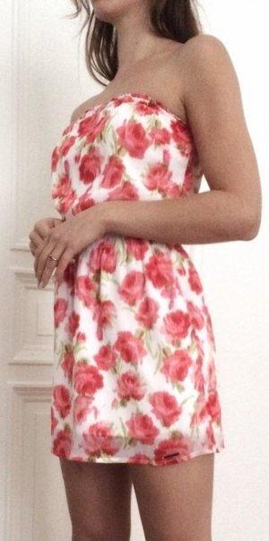 Abercrombie & Fitch Bandeau Kleid geblümt rot weiß schulterfrei XS 34 A&F