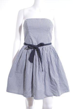 Abercrombie & Fitch Vestido bandeau azul oscuro-blanco estampado a rayas