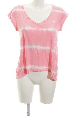 Abercrombie & Fitch Batik shirt neonroos-wolwit batik patroon casual uitstraling