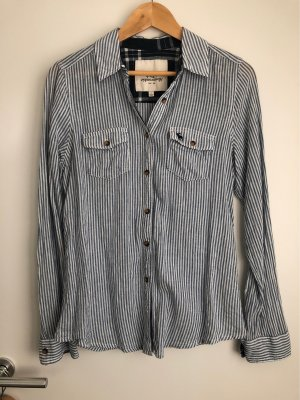 Abercrombie & Fitch Linen Blouse white-blue