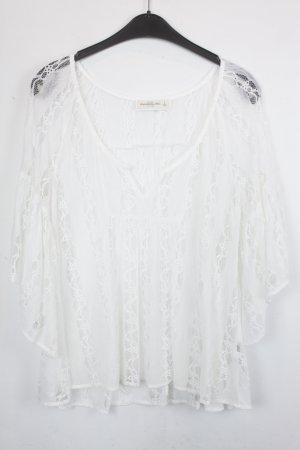 Abercrombie & Fitch Blusa de encaje blanco Nailon