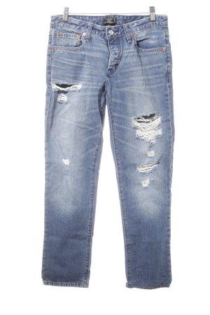 Abercrombie & Fitch Boyfriend jeans donkerblauw Biker-look