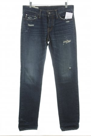 Abercrombie & Fitch Boyfriend Jeans dark blue-steel blue casual look