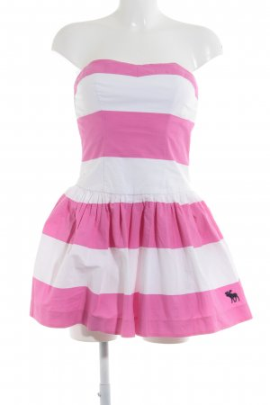 Abercrombie & Fitch Bustier Dress pink-white striped pattern elegant