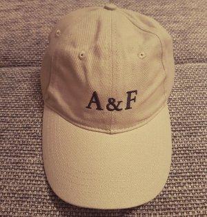 Abercrombie & Fitch Cap, wollweiß-schwarz-braun Kappe, aus Baumwolle, mit Logo, neu