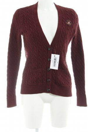 Abercrombie & Fitch Cardigan bordeauxrot Zopfmuster Casual-Look