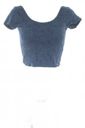 Abercrombie & Fitch Cropped Shirt dark blue flower pattern casual look
