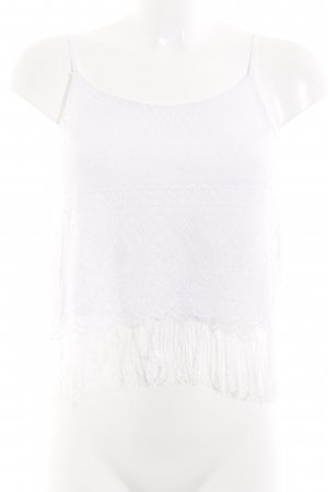 Abercrombie & Fitch Cropped Top weiß Lochstrickmuster Boho-Look