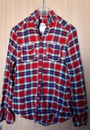 Abercrombie & Fitch Flannel Shirt brick red-blue cotton