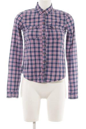 Abercrombie & Fitch Flanellen hemd blauw-violet geruite print country stijl