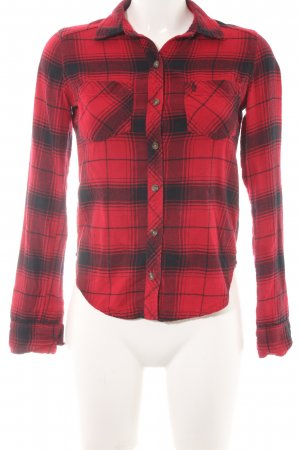 Abercrombie & Fitch Flanellhemd rot-schwarz Karomuster Casual-Look