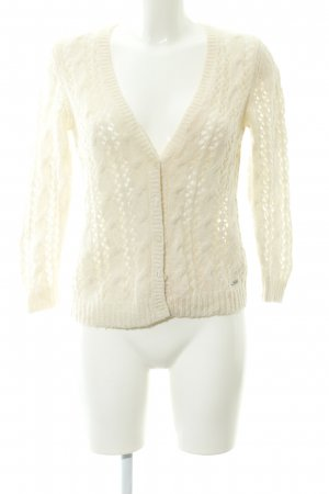 Abercrombie & Fitch Coarse Knitted Jacket natural white cable stitch