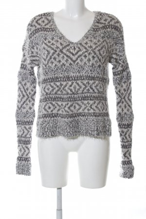 Abercrombie & Fitch Grobstrickpullover hellgrau grafisches Muster Casual-Look