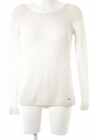 Abercrombie & Fitch Coarse Knitted Sweater natural white weave pattern