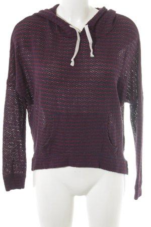 Abercrombie & Fitch Crochet Sweater dark blue-carmine striped pattern