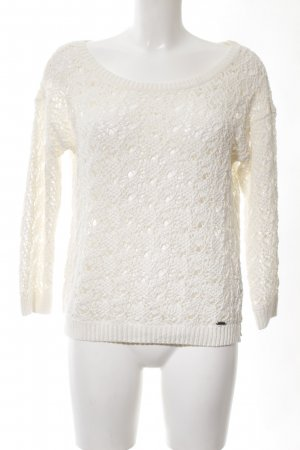 Abercrombie & Fitch Crochet Sweater white weave pattern casual look