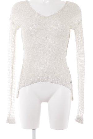 Abercrombie & Fitch Häkelpullover wollweiß-silberfarben Casual-Look