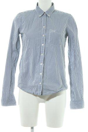 Abercrombie & Fitch Hemd-Bluse weiß-graublau Streifenmuster Casual-Look