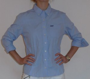 Abercrombie & Fitch Hemdbluse blau feingestreift Gr.M