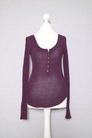 Abercrombie & Fitch Henley Gr. XS dunkelrot/bordeaux Langarmshirt