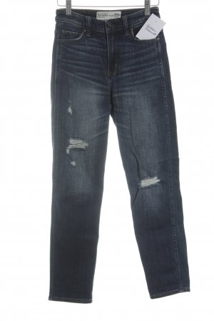 Abercrombie & Fitch High Waist Jeans dunkelblau-wollweiß Destroy-Optik