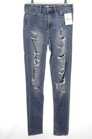Abercrombie & Fitch High Waist Jeans mehrfarbig Destroy-Optik
