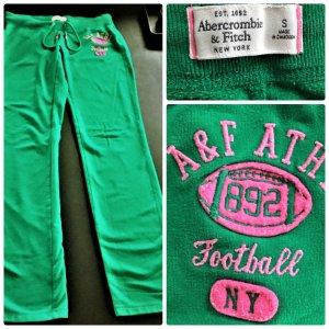 Abercrombie & Fitch Hose ,Jogginghose Gr.36 Grün/Pink Baumwolle