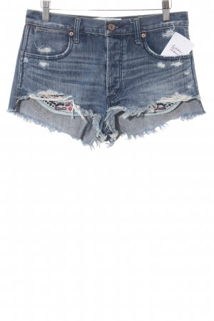 Abercrombie & Fitch Hot Pants blau abstrakter Druck Beach-Look