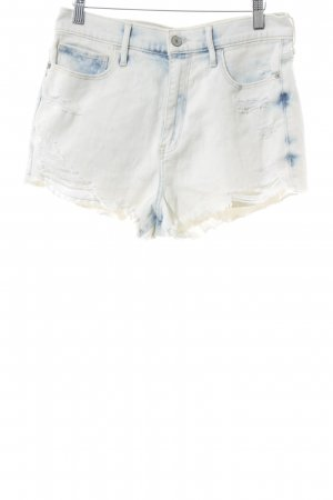 Abercrombie & Fitch Hot Pants wollweiß-blau Destroy-Optik